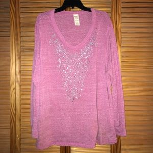 Women's Faded Glory V neck Long Sleeve Tee Shirt